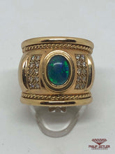 Load image into Gallery viewer, 9ct Yellow Gold Opal & Diamond Ring