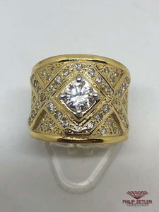 18ct Yellow Gold Pave Diamond Ring