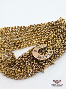 9ct Horseshoe Gold and Anique Diamond Bracelet