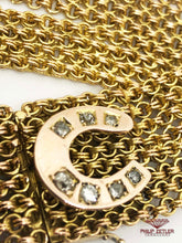 Load image into Gallery viewer, 9ct Horseshoe Gold and Anique Diamond Bracelet