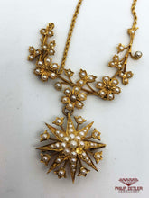Load image into Gallery viewer, 18ct Rope Necklace with Seed Pearl Rosette and Star Pendants