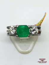 Load image into Gallery viewer, 18ct White Gold Emerald & Diamond Ring