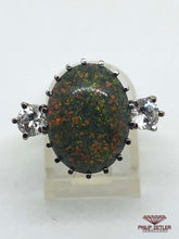 Load image into Gallery viewer, 18ct Black Opal & Diamond Gold Ring