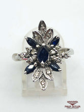 Load image into Gallery viewer, 18ct White Gold  Marquise Cut Sapphire & Diamond Ring