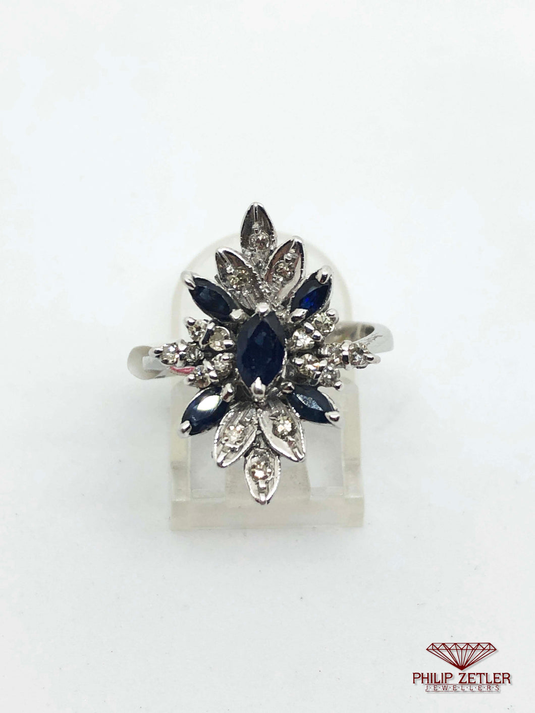 Marquise Cut Sapphire, White Gold and Diamond Ring
