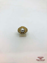 Load image into Gallery viewer, 18ct Yellow Gold &  Blue Pearl Diamond Ring