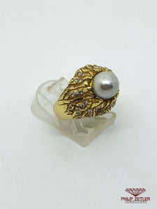 18ct Yellow Gold &  Blue Pearl Diamond Ring