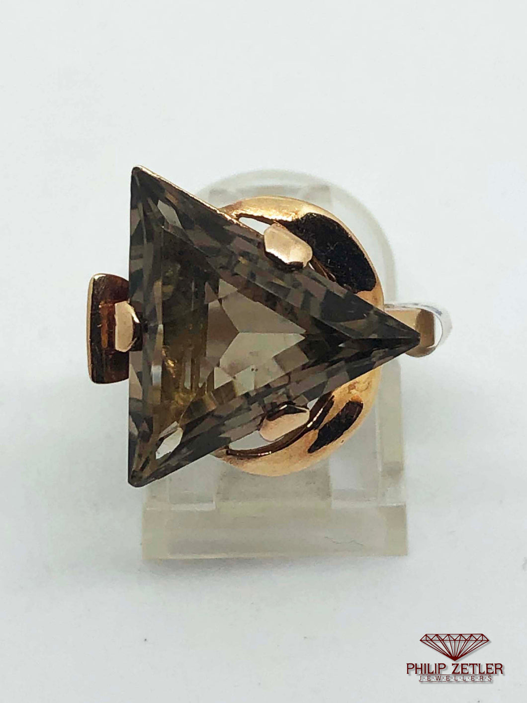 9ct Topaz Trilliant & Rose Gold Ring