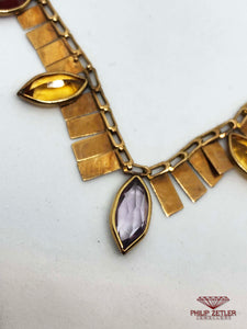 14 ct Pear Cut Amethyst, Citrine, Garnet and Gold Necklace
