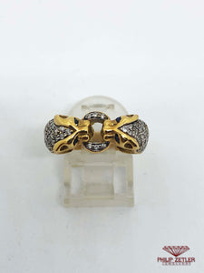 18 ct Diamond Sapphire and Gold Tiger Ring