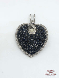 Blue Sapphire and Silver Heart Pendant