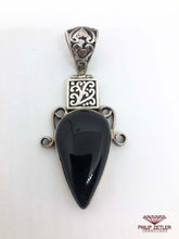 Load image into Gallery viewer, Silver and Onyx Pear Shaped Pendant