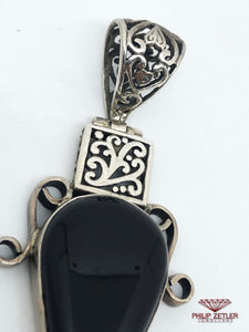 Silver and Onyx Pear Shaped Pendant