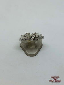 Diamond and White Gold Heart Shape Ring