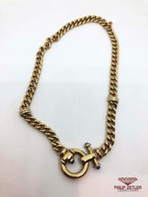 Load image into Gallery viewer, 9ct Yellow Gold Curb Link Necklace Sapphire Clasp