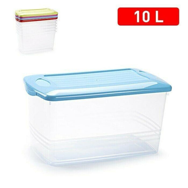 10L Strong Clear Plastic Storage Box With Lid Toy Storage