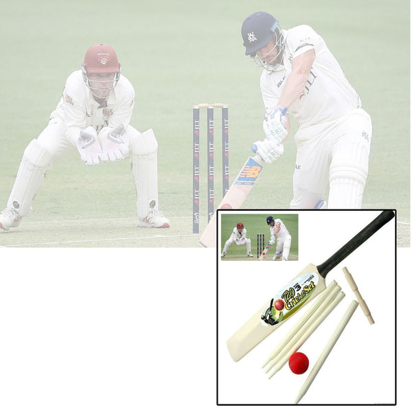 Wooden Cricket Set Bat With Ball & 4 Stumps & Ball