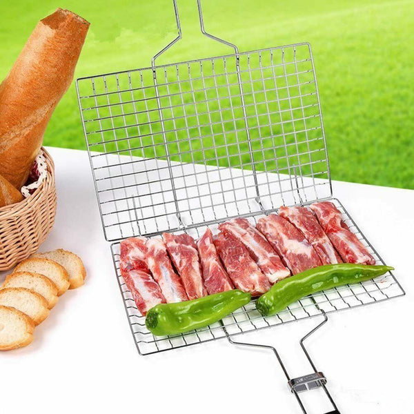 Bbq Long Handle Grill Rack Folding Stand Mesh
