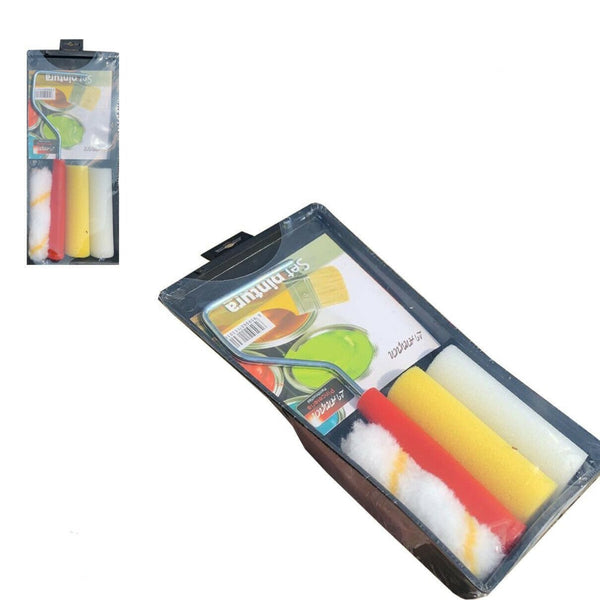 4Pcs Mini Foam Paint Roller Tray Set