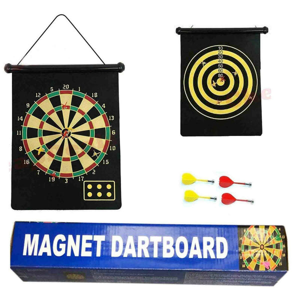 Double Sided Magnetic Dartboard with 4 Magnetic Darts