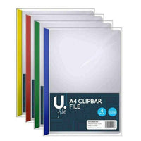 4 x A4 Clip Bar Slide Binder Folders