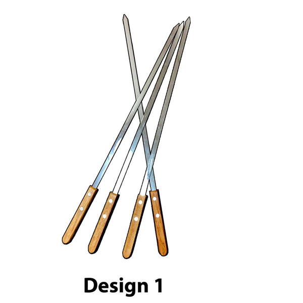 4pc Bbq Skewer Wooden Handle