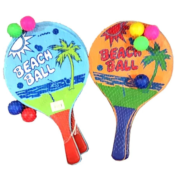 Wooden Beach Ball Paddle Double Racket 2 Sided Set