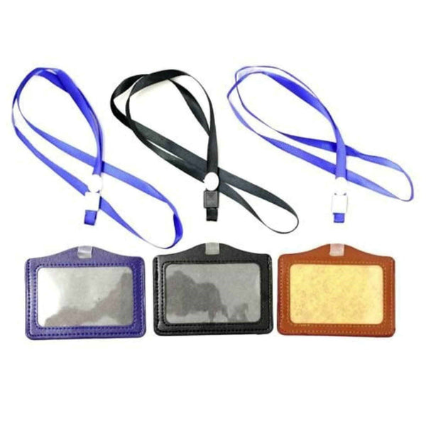 Leather ID Window Card Badge With Lanyard