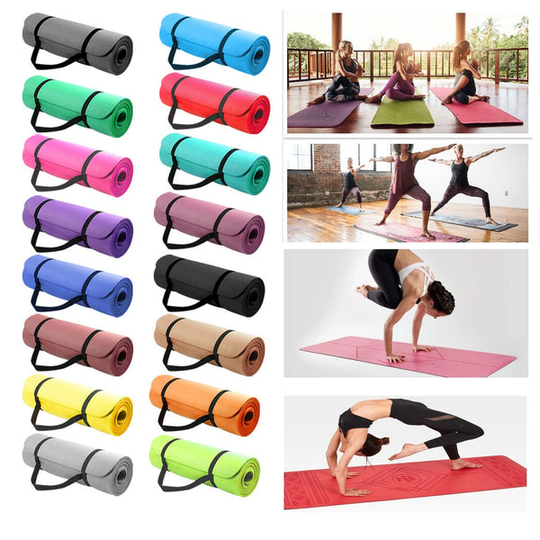 Yoga Mat Thick Exercise NonSlip Carrier 173x61cm