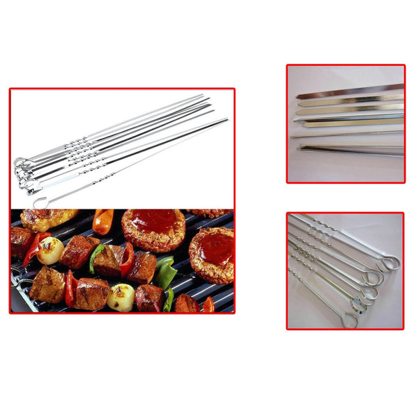 8pc Bbq Skewer Stainless Steel Kebab Sticks