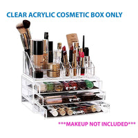 Acrylic Clear Cosmetic Organiser With 3 Drawers Makeup Jewelry