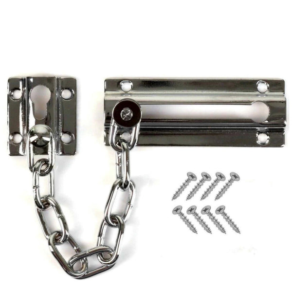 Chrome Door Chain Lock with Screws