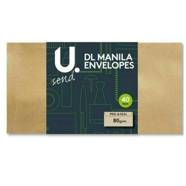 DL Manila Brown Envelopes Peel and Seal Pack of 40