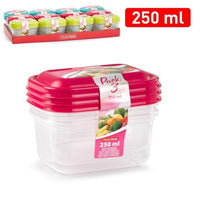 3x Clip & Lock lids Containers Storage Plastic Boxes 250ml