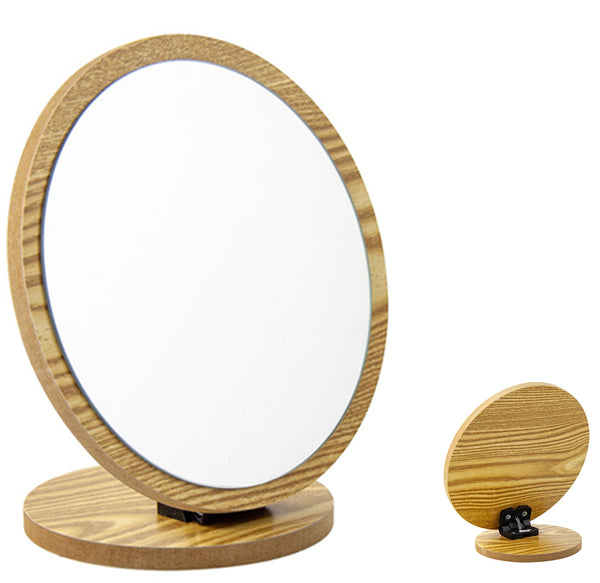 Desktop Makeup Bathroom Mirror Wood Frame Folding
