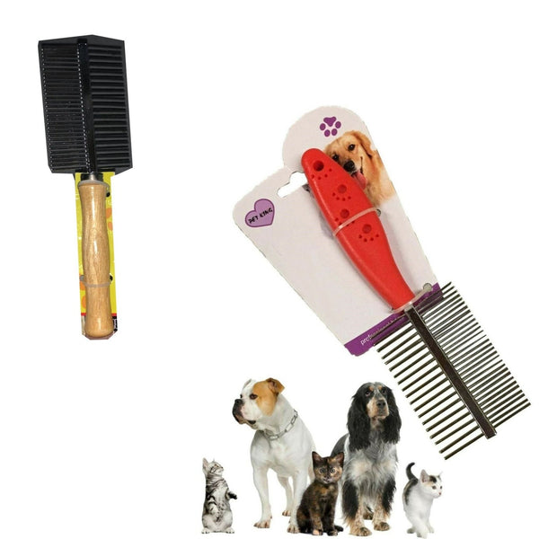 Pet Metal Double Row Teeth Wood Hair Brush