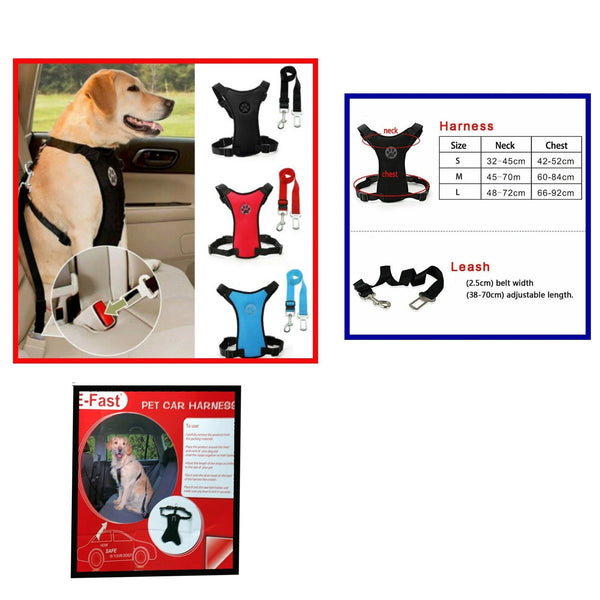 Air Mesh Puppy Pet Dog Car Harness Seat Belt Clip