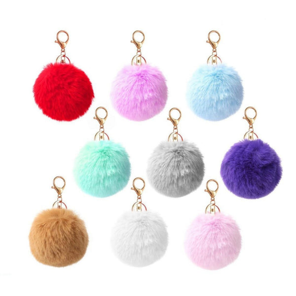Keyring Soft Plush Faux Fluffy Rabbit Fur