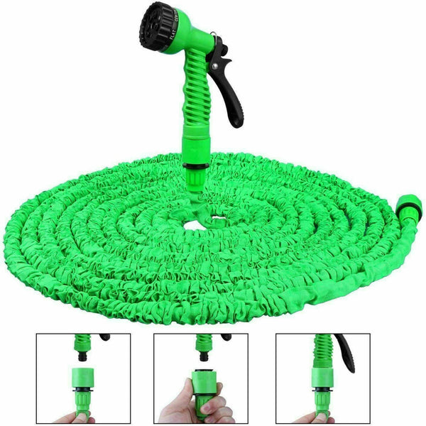 Expandable Magic Garden Hose Pipe with Spray Gun Green