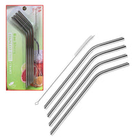 4Pcs Metal Stainless Steel Straws with Brush