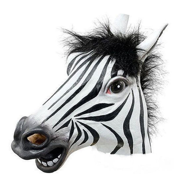Adult Zebra Overhead Latex Fancy Dress Party Accessory