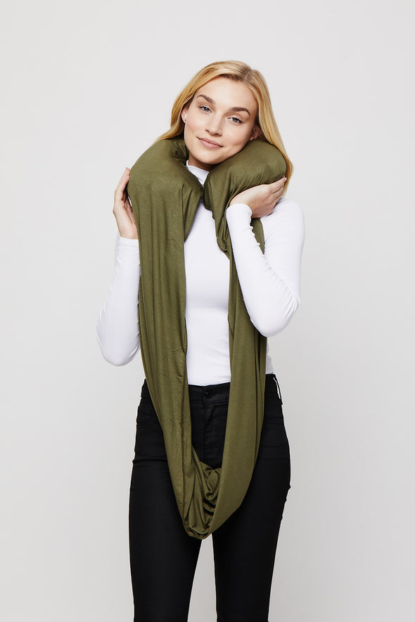 Army Green Sleeper Scarf inflated