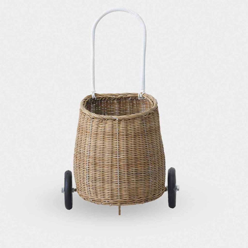 Little Luggy Basket - Natural Vintage Wicker Shopping Trolley