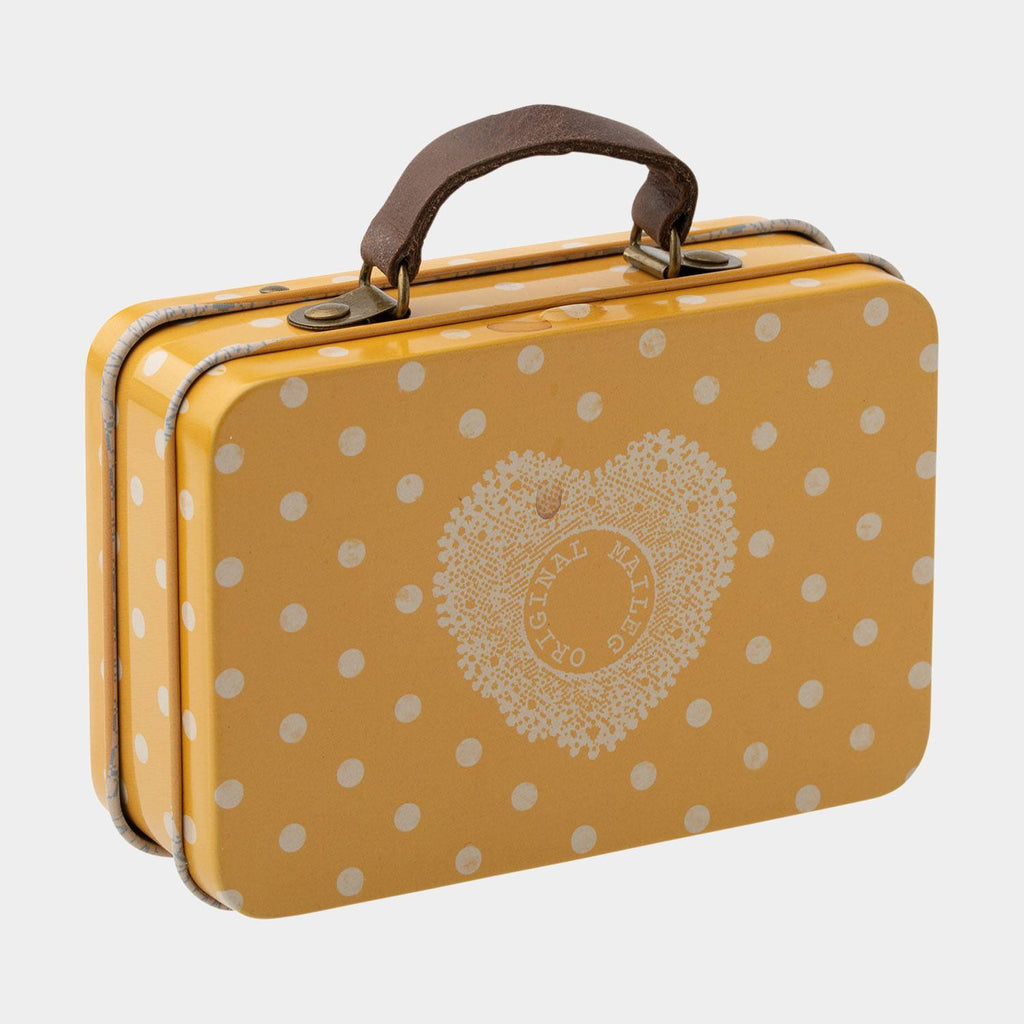 Maileg Mouse, Metal Suitcase, Yellow Dot