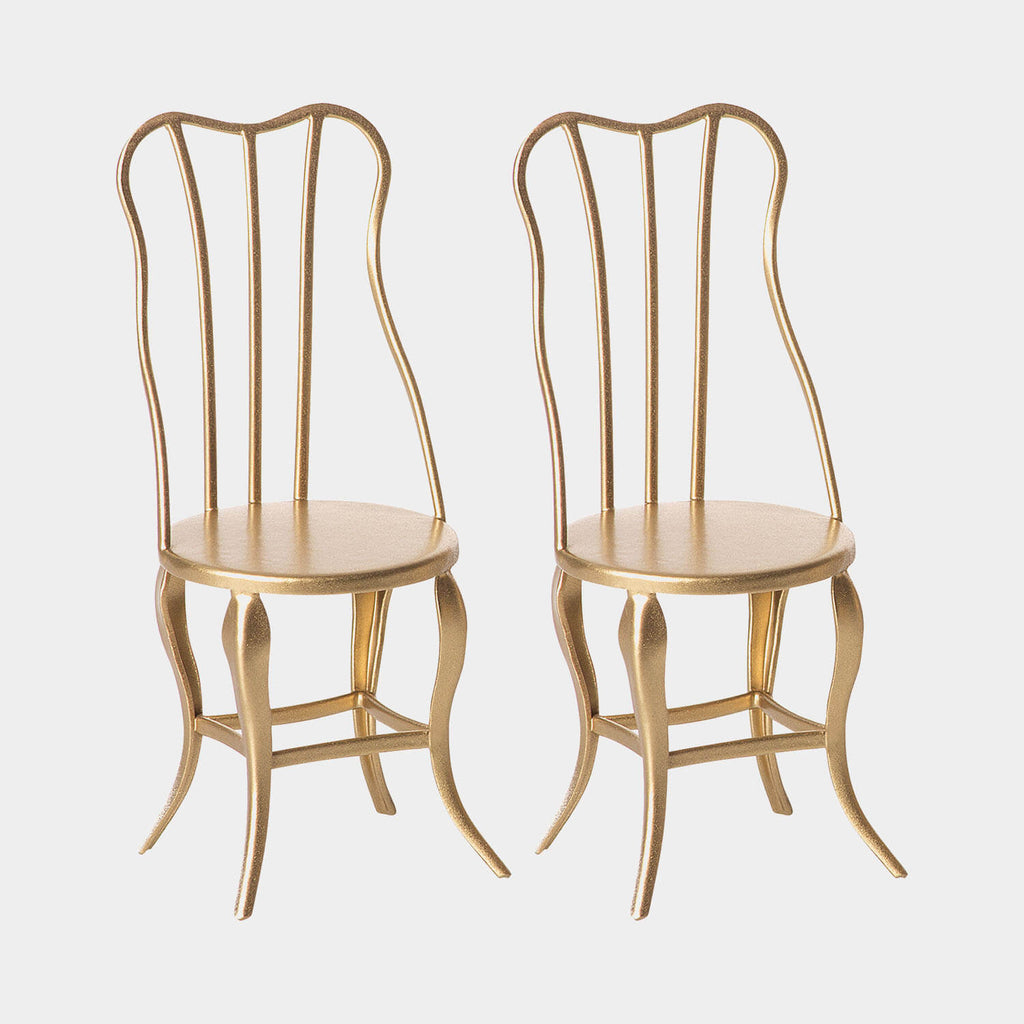 Maileg pack of 3 Gold vintage chairs