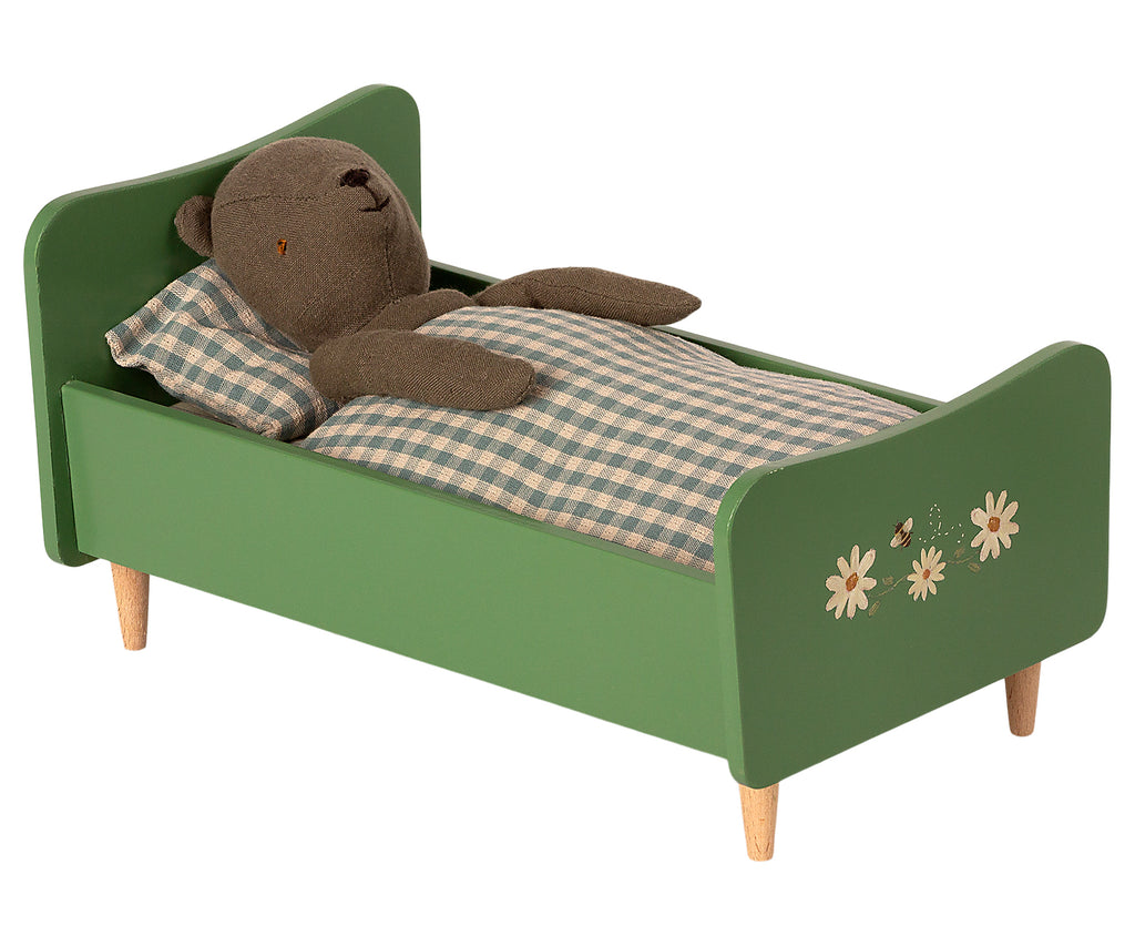 Maileg Wooden Bed - Teddy Dad, Dusty Green