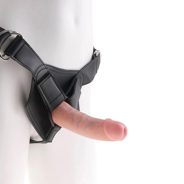 Strap-On Harness with 6 Inch Cock Flesh King Cock NS7068 - skintantric