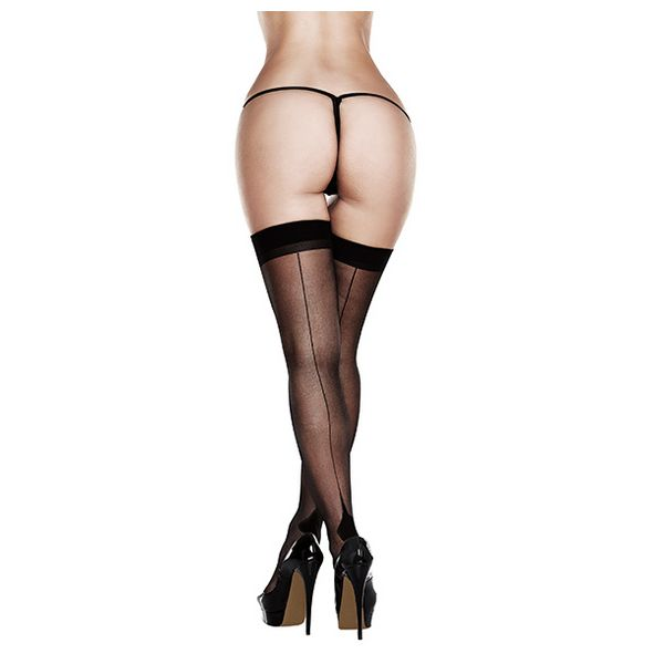Sheer Cuban Heel Thigh Highs Queen Size Baci Lingerie 83243