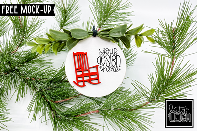 "3"" Wooden Ornament with Rocking Chair Mockup"