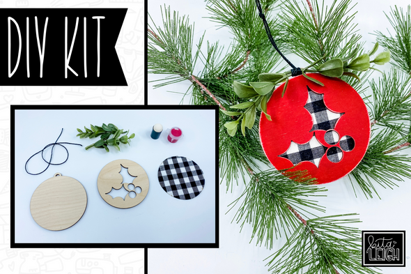 Buffalo Plaid Holly Berries Cutout Kit